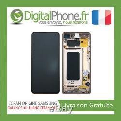Ecran LCD Original Samsung Galaxy S10+ Contour Blanc Ceramic Gh82-18849h-tva