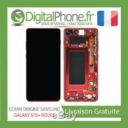 Ecran LCD Original Samsung Galaxy S10+ Plus Contour Rouge Gh82-18849h-tva