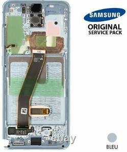 Ecran LCD + Vitre Tactile + châssis Bleu Samsung Galaxy S20 G980F (Original)
