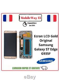 Vitre Tactile + Ecran LCD Original Samsung Galaxy S7 Edge Gold Service Pack