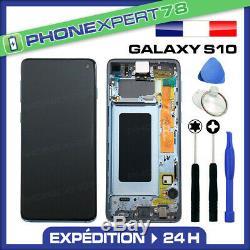 Vitre Tactile Ecran LCD Original Sur Chassis Samsung Galaxy S10 Noir G973