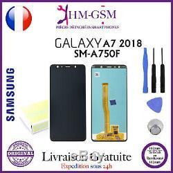 Vitre Tactile Galaxy A7 2018 Original+ Ecran LCD A7 Noir + Outils Sm-a750f